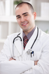 young handsome success doctor , smiling portrait